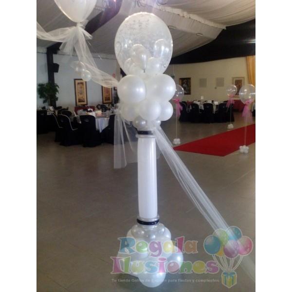 Decoracin con globos para bodas columnas de decoracin con - Decoracion columnas salon ...