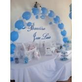 Decoración Bautizo Niño con globos y Mesa Candy