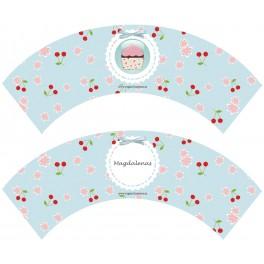 100 Wrapper Cupcake Cerezas imprimible