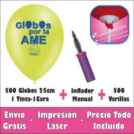 Pack 500 Globos 25cm. 1C-1T Aire Manual