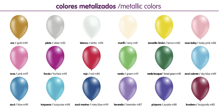 Colores metálicos globos